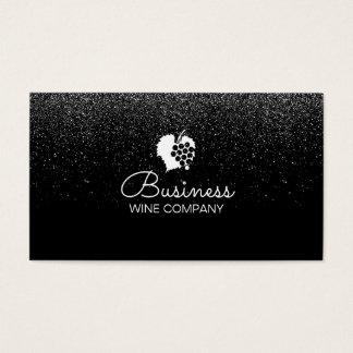 Cartes De Visite Noir moderne de confettis de Winery Wine Company