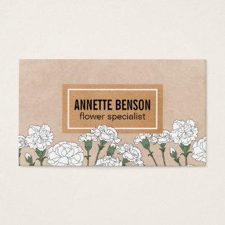 Cartes De Visite Oeillets du fleuriste | (blancs)
