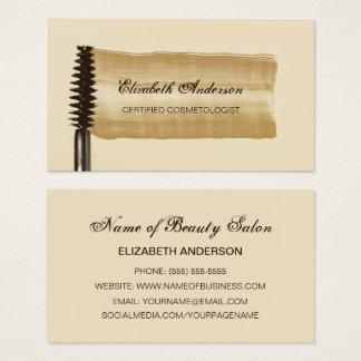 Cartes De Visite Or et Cosmetologist élégants de mascara de Brown