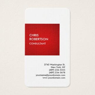 Cartes De Visite Personnel unique privé rouge spécial de toile
