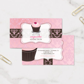 Cartes De Visite Petit gâteau rose de coeur de PixDezines+damassé