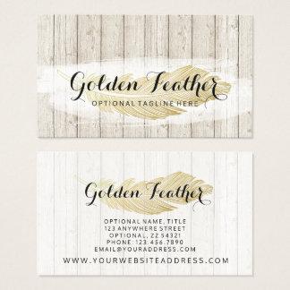 Cartes De Visite Plume de Bohème d'or sur les conseils en bois