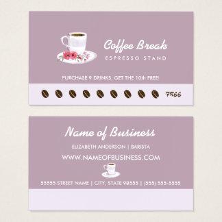 Cartes De Visite Poinçon floral de fidélité de support de café de