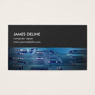 Cartes De Visite Réparation bleue grise simple d'ordinateur de bord