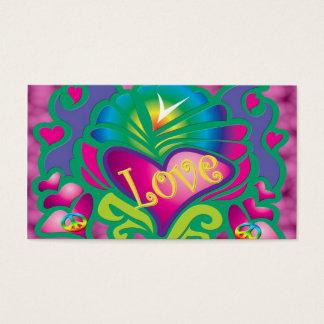 Cartes De Visite Rétro style de paix et d'amour