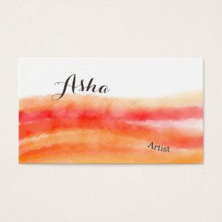 Cartes de visite rouges et oranges d'aquarelle