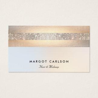 Cartes De Visite Salon de beauté argenté moderne d'or de paillette