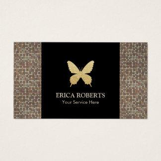 Cartes De Visite Scintillement moderne d'or de papillon de