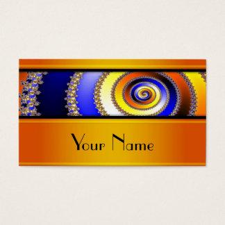 Cartes De Visite Spirale d'art de fractale - jaune bleu + votre