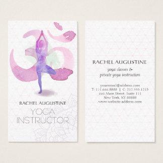 Cartes De Visite Symbole élégant de l'OM de pose de méditation de