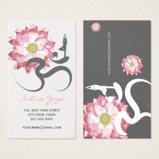 Cartes De Visite Symbole spirituel rose de logo de l'OM de yoga de