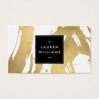 Cartes De Visite Traçages abstraits d'or de Faux sur le blanc