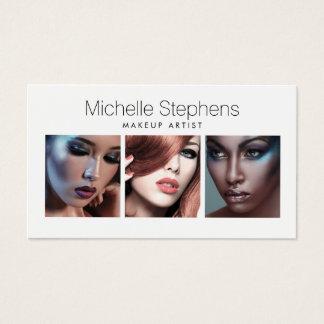 Cartes De Visite Trio moderne de photo pour des maquilleurs,