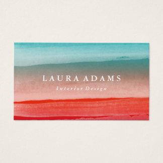 Cartes De Visite Turquoise abstraite de rouge de traçages