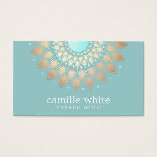 Cartes De Visite Turquoise fleurie de motif d'or élégant de