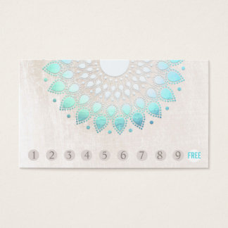 Cartes De Visite Turquoise Lotus de fidélité de client de 10