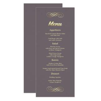 Cartes faites sur commande de menu de mariage d'or
