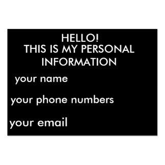 Cartes personnelles d'information carte de visite grand format