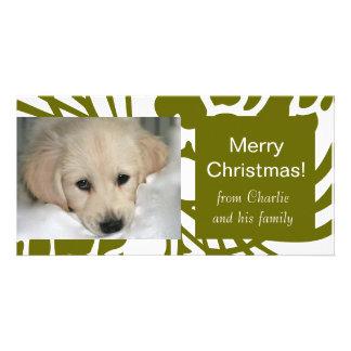 Cartes photos blancs verts élégants de Noël de chi Cartes Avec Photo