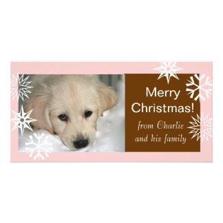 Cartes photos de chien de Joyeux Noël de flocons d Photocartes Personnalisées