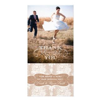 Cartes photos de Merci de mariage de dentelle d'im Photocarte