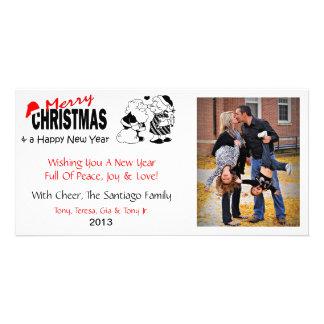 Cartes photos de Mme Christmas de baisers de X2 Pè Cartes De Vœux Avec Photo