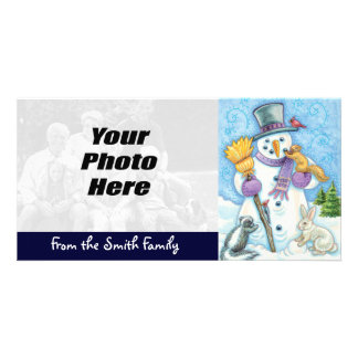 Cartes photos de Noël de bonhomme de neige, photo Photocartes Personnalisées