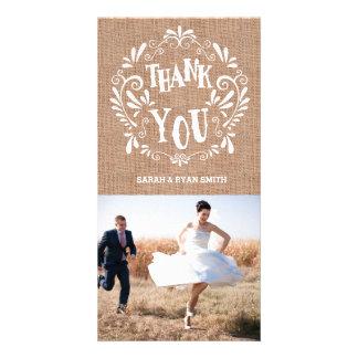 Cartes photos rustiques de Merci de mariage Photocarte Personnalisée