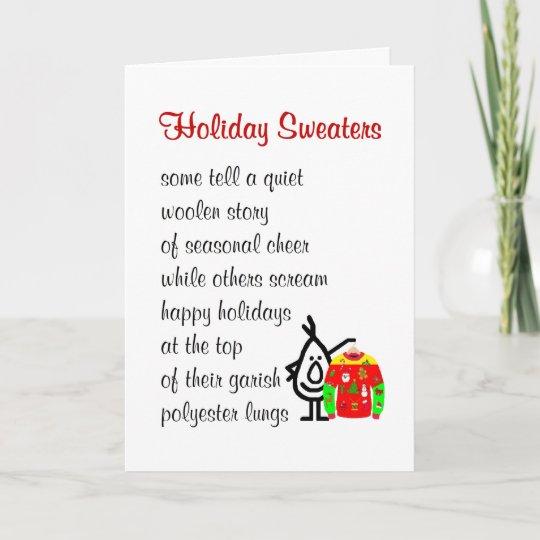 Cartes Pour Fêtes Annuelles Chandails De Vacances Un Poème Drôle De Noël