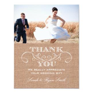 Cartes rustiques de Merci de mariage d'impression Carton D'invitation 10,79 Cm X 13,97 Cm