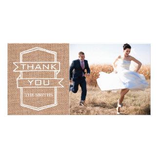 Cartes rustiques de Merci de photo de mariage d im Photocartes