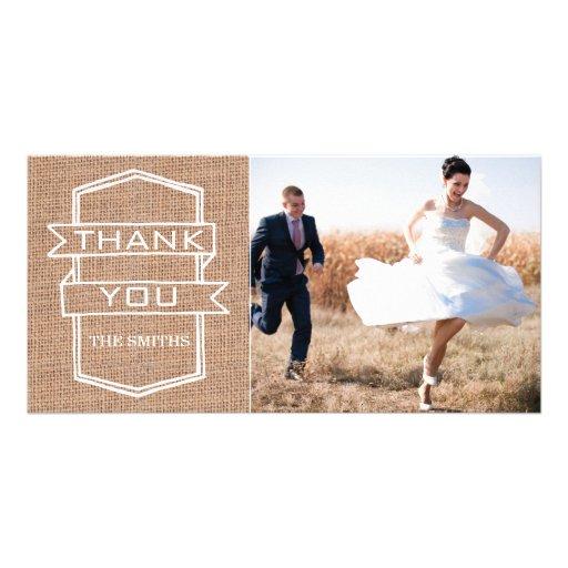 Cartes rustiques de Merci de photo de mariage d'im Photocartes