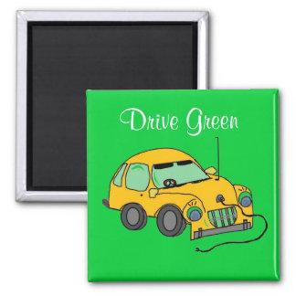 Cartoon-Auto-Antriebs-Grün Quadratischer Magnet