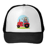 Cartoon-Bauer, der einen roten Traktor reitet Retrokultkappe