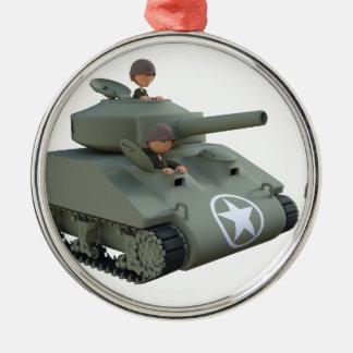 Cartoon-Behälter und Soldaten, die vorwärts gehen Silbernes Ornament