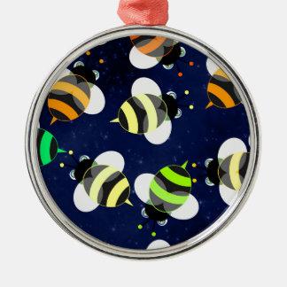 Cartoon-Bienen-Fliegen Silbernes Ornament