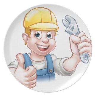 Cartoon-Charakter-Klempner oder Mechaniker Melaminteller