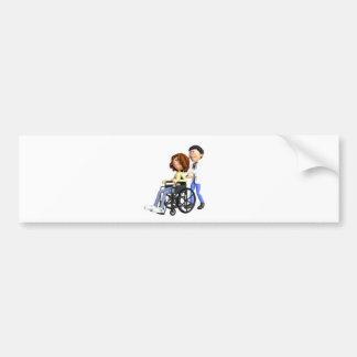 Cartoon-Doktor Wheeling Patient In Wheelchair Autoaufkleber
