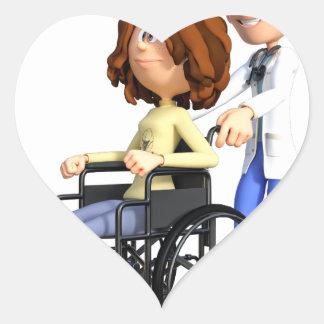 Cartoon-Doktor Wheeling Patient In Wheelchair Herz-Aufkleber