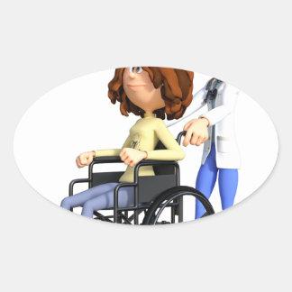 Cartoon-Doktor Wheeling Patient In Wheelchair Ovaler Aufkleber
