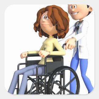 Cartoon-Doktor Wheeling Patient In Wheelchair Quadratischer Aufkleber