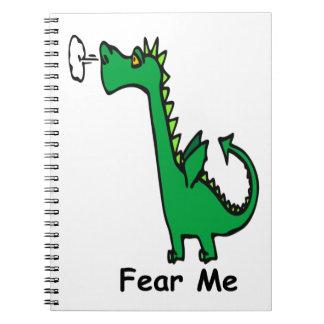 Cartoon-Drache befürchten mich Notizblock