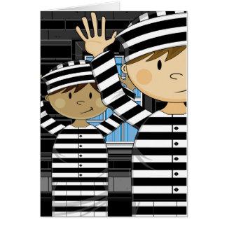 Cartoon entgangene Gefangene im Scheinwerfer Karte