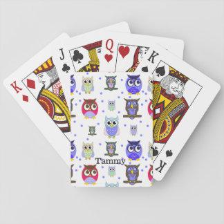 Cartoon-Eulen und Polka-Punkt-Spielkarten Spielkarten