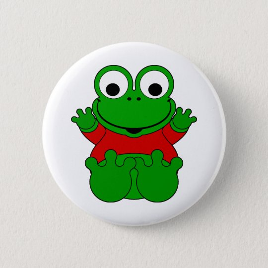 Cartoon-Frosch Runder Button 5,7 Cm