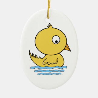 Cartoon-gelbe Ente Ovales Keramik Ornament