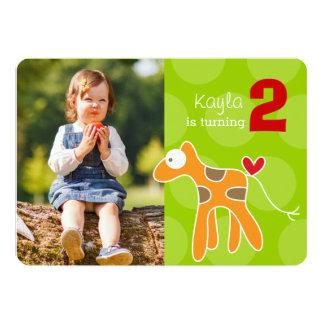 Cartoon-Giraffen-Kindergeburtstags-Foto-Einladung 12,7 X 17,8 Cm Einladungskarte