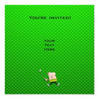Cartoon-Golfspieler; Grün Quadratische 13,3 Cm Einladungskarte