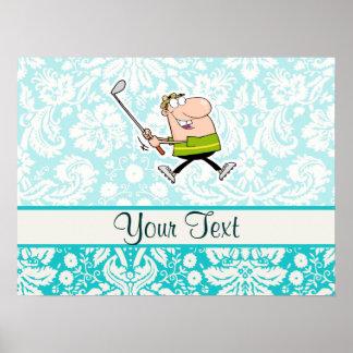 Cartoon-Golfspieler Niedlich Plakat