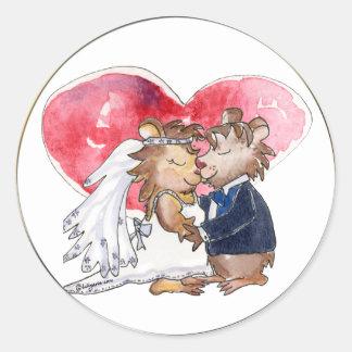 Cartoon-Hochzeits-Tanz-Paare Runder Aufkleber